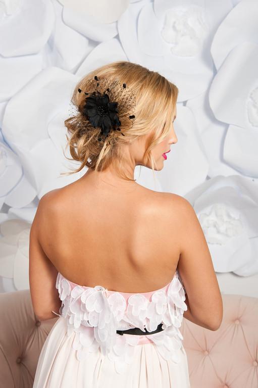 Black flower headpiece - Odessa